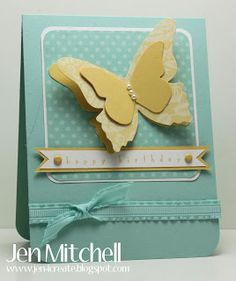 happy birthday card using the beautiful butterflies die from Stampin' Up! Would make a great baby shower card.