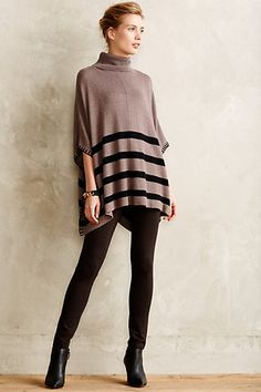 hem striped poncho/cape - perfect with leggings and boots for fall! #anthrofave