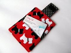 Business card case wallet black and white by LuckyCatHandmade  $15.30
