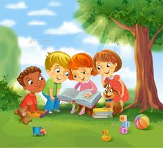 Buy Children Reading Books by Azzzzya on GraphicRiver. Group of Happy Kids Reading Books outdoors under a tree in sunny summer day, vector illustration Girl Reading Book, Kids Reading Books, Art Drawings For Kids, Drawing For Kids, Kids Church Rooms, Picture Composition, Drawing School, School Murals, Birthday Frames