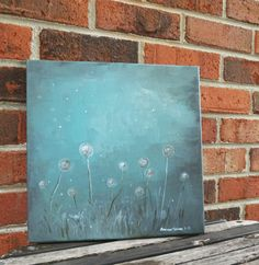 Twilight Dandelions Original Art Painting Acrylic on by NimbuRu, $42.00