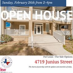 Come join us at an OPEN HOUSE this Sunday, February 26th from 2-4PM! For sale AND for lease options!