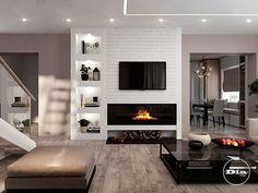 Living Room Decor Fireplace, Modern Fireplace, Living Room Kitchen, Interior Design Living Room, Living Room Designs, Fireplace Remodel, Family Room Design, Spacious Living Room, Sweet Home