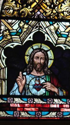 Sagrado Corazón de Jesús, vitral en la iglesia de la Colonia Tovar. Aragua. venezuela