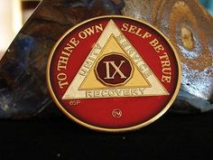 Red Silver Gold Tri Plate Alcoholics Anonymous 9 Year Medallion Coin Chip Token | eBay