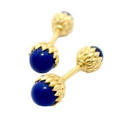 Tiffany & Co. Jean Schlumberger Lapis Lazuli Gold Acorn Cufflinks | From a unique collection of vintage cufflinks at http://www.1stdibs.com/jewelry/cufflinks/cufflinks/