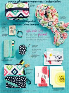 Spring/Summer 2017 Catalog scarf zipper pouch wallet greeting cards www.mythirtyone.com/celenassimplesolutions