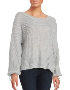 Ella Moss Tie Sleeve Sweater Women's Grey Large