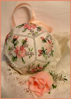 POM 2 - Hazel Blomkamp.      Silk Ribbon Embroidery Pomander   Kit contains instructions and all the materials that you need to make up this scented feminine bedroom accessory.  Size 60 mm diameter.  http://www.australianneedlearts.com.au/pom-2-hazel-blomkamp#