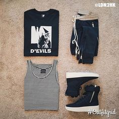 Today's top #outfitgrid is by @ldn2hk. ▫️#JayZ #Tee ▫️#Fog #Pants ▫️#DeadSocietyClo #Tanks ▫️#FearOfGod… #flatlay #flatlayapp #flatlays