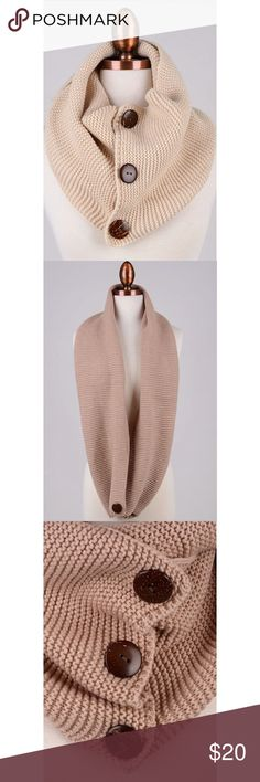 Infinity Button Trim Scarf This listing is for Ivory. Also available in black, gray, rose, and taupe. An absolute MUST HAVE for fall 😍 100% acrylic. Accessories Scarves & Wraps