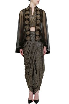 ANAND KABRA Gold sequins sheath dhoti pants with bird embroidered bustier and black embellished cape