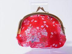Japanese Kawaii Kimono chirimen coin purse(GAMAGUCHI)  Lucky Bunnies on Red