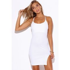 White criss cross back side slit fitted bodycon slip club mini dress ($15) ❤ liked on Polyvore featuring dresses, side slit dress, white body con dress, sexy white dresses, short dresses and white dress