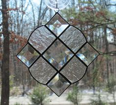Stained Glass Victorian Suncatcher Clear Textured Glass with