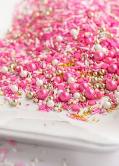 FLAMINGOTwinkle Sprinkle Medley is a premium, one of a kind mix of fancy flamingo-inspired sprinkles in the universe: bright and light pink strands, white stra
