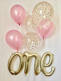 Welcome to Sweet Escapes By Debbie! AIR FILL ONLY BALLOON This listing includes: 29.5 inch air fill only one script balloon 3 pearl pink and 3 gold polka dot confetti look 11 latex balloons The details: ~The one script balloon is air fill ONLY. If it is filled with helium it