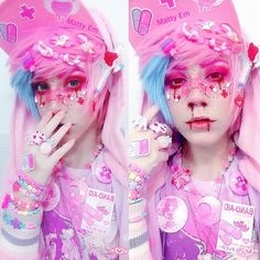 I don't know what the fuck this is but it looks interesting. What he said -✨ Heres my newest look!✨⚠️ Its a style called Menhera (hospital/nurse inspired)… Pastel Goth Makeup, Pastel Goth Fashion, Kawaii Fashion, Lolita Fashion, Cute Fashion, Kawaii Makeup, Cute Makeup, Pastell Goth Outfits, Japanese Street Fashion