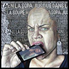 Jusque dans la soupe: Le regerd actuel.2016.Huile et collage sur toile. 100 x 100 cm