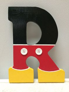 Mickey Mouse Hand Painted Wooden Letter by CrafteeThings on Etsy