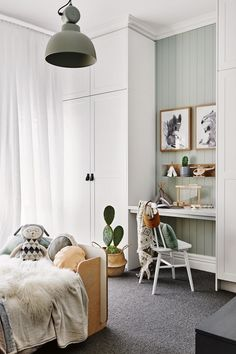 This Scandi-style kid& room has an in-built study nook with grey carpet and. This Scandi-style kid& room has an in-built study nook with grey carpet and a Dulux Spanish Olive feature wall. Bedroom Sets, Bedroom Decor, Sage Bedroom, Bedroom Furniture, Bedroom Lighting, Furniture Dolly, Alcove Ideas Bedroom, Desk In Bedroom, Kids Bedroom Ideas