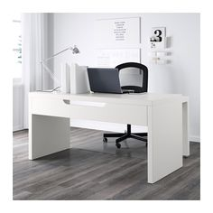 MALM Desk with pull-out panel - white - IKEA