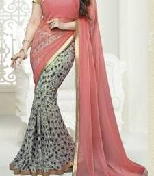 Buy Pink printed Georgette saree with blouse party-wear-saree online