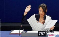 """Licia Ronzulli took her seven-week-old baby to work at the European parliament. """"It was not a political gesture. It was first of all a maternal gesture – that I wanted to stay with my daughter as much as possible, and to remind people that there are women who do not have this opportunity [to bring their children to work], that we should do something to talk about this."""""""