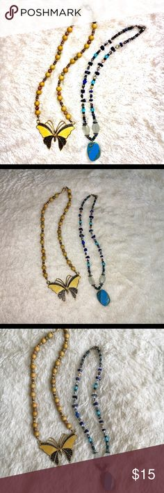 """🦋Butterfly Necklace Set Set of two hand-strung necklaces: 1) mustard yellow wood beads, glossy speckled balls, gold-tone spacer beads w/ filigree metalwork butterfly pendant. Measures 18"""", 9.5"""" drop. 2) Assorted-cut blue, green clear & metallic beads, choker-length fit w/ glossy speckled turquoise pendant, w/ Measures 17"""", 9"""" drop. Jewelry Necklaces"""