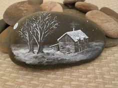 Hand Painted Stone 'Winter House'