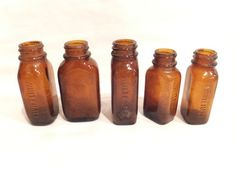 WHITEHALL GLASS Vintage Lot APOTHECARY BROWN GLASS Bottles Medicine