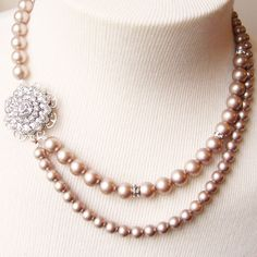Champagne Pearl Bridal Rhinestone Necklace, Vintage Wedding Jewelry, VICTORIA Collection.