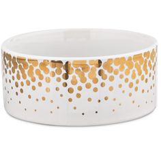 Harmony Gold Dots Ceramic Dog Bowl - For the glamorous pup and parent pair, the Harmony Gold Dot Dog Dish adds a touch of Hollywood sparkle to mealtime. Lightweight ceramic and metallic gold bring a luxurious look to any meal. - http://www.petco.com/shop/en/petcostore/harmony-ceramic-gold-dots-dog-bowl