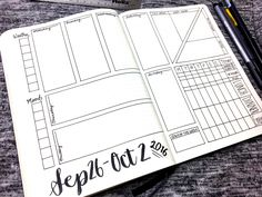 Bullet Journal Weekly Layout - September 26- October 2,, 2016: Spread template downloads, videos, and more at bulleteverything.com