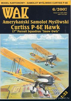 Curtiss P-6E Hawk (WAK 6/2007), 1:33 paper model, maybe good for RC 1:16 conversion.
