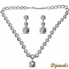 Diamond Necklace in Hallmarked Gold.White Rhodium Plated<br /> [Rs    586,017]