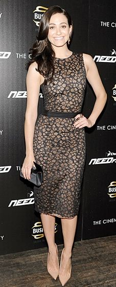 Emmy Rossum wears a Vera Wang dress and Louboutins to the 'Need for Speed' New York premiere