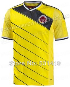 Colombia Falcao Jersey 2014 World Cup Shirt Colombia Jersey  Best Thai Quality Home Yellow Soccer Jersey Free Shipping  $28.91 - 29.91