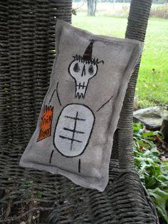 Primitive Halloween Skeleton Shelf Sitter Home by WhimsicalFolk, $7.00