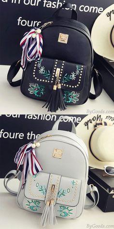 3e2417c262ec6 Süße Blätter Stickerei Quaste Nieten Blumen Mädchen PU Schulrucksack  rivet   Bag  Backpack