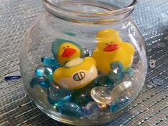 Baby boy shower. Table centerpiece   Ducks in water.