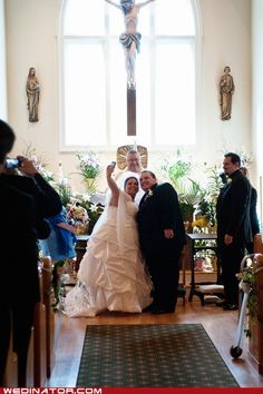 """This couple made it """"Facebook Official"""" right there at the alter!"""