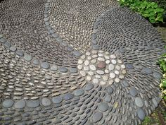 mosaic pebbles - possibly for circular hot tub pad