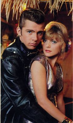 Grease 2 Michelle Pfeiffer as Stephanie Zinone and Maxwell Caulfield as Michael Carrington. Grease 2, Grease Live, Maxwell Caulfield, Movie Photo, Movie Stars, Movie Tv, Michelle Pfeiffer, Grease Is The Word, Image Film