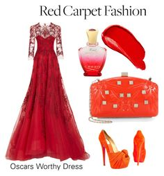Red Revolution by al3xth3unicorn on Polyvore featuring polyvore, fashion, style, Monique Lhuillier, Christian Louboutin, Valentino, Burberry, Creed and clothing
