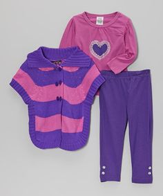 Look at this #zulilyfind! Real Love Pink & Purple Stripe Sweater Set - Infant, Toddler & Girls by Real Love #zulilyfinds