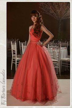 ~ Cami con su #vestido Coral en su fiesta de 15 años ~ By Bárbara Gonzalez.