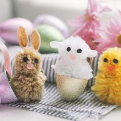 Bunny, lamb and chick pom poms are festive for Easter.