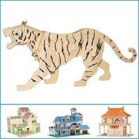 Tiger senden werbung Aufnahme stereoskopische 3d holzpuzzle diy handgefertigte spielwaren