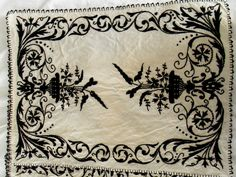 Elegant Classic Vintage Blk Heavily Embroidered Linen 12 Placemats 12 Napkins